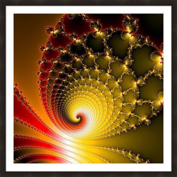 Framed Print: Glossy and vibrant abstract spirals and lines, fascinating Fractal Art with amazing metal effect, yellow, orange and red colors. Many different frames available. Also on sale as poster, canvas, metal or acrylic print. (c) Matthias Hauser
