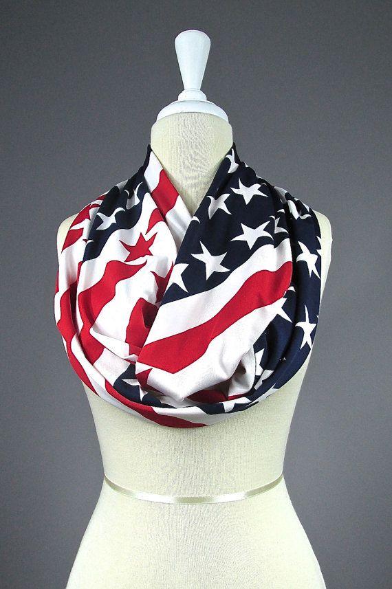 American Flag scarf Patriotic infinity scarf by NursingTime