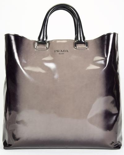 Prada Grey Ombre Patent Leather Spazzolato Sfumato Tote | Bag Shit ...