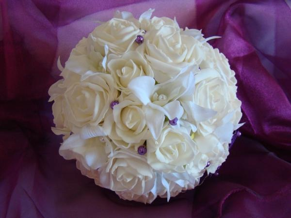 Foam Rose Bouquet with Orchids by How Divine https://www.howdivine.com.au/store/product/real-touch-rose-orchid-bouquet