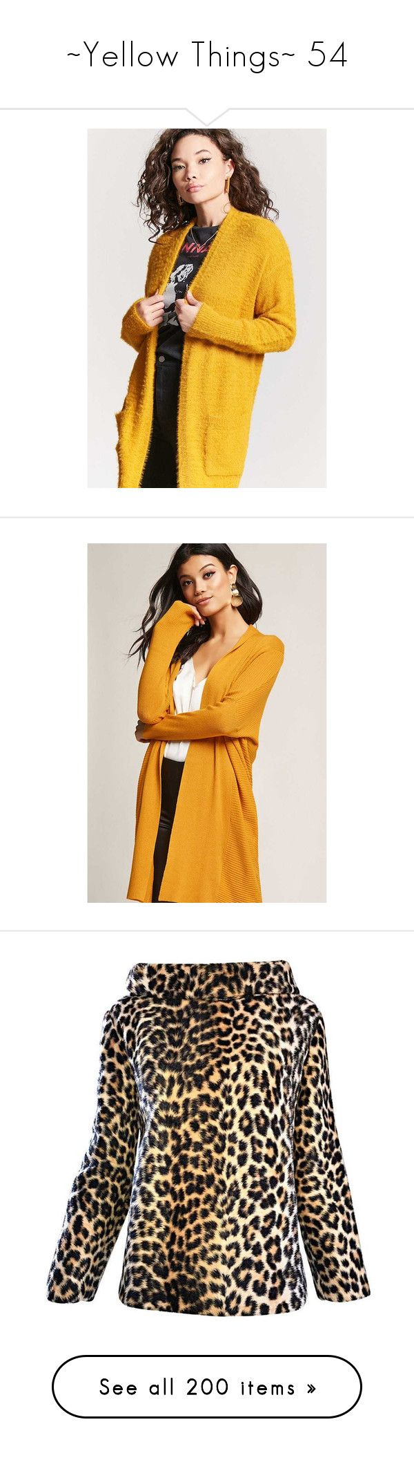 """""""~Yellow Things~ 54"""" by my-shiny-shackles on Polyvore featuring yellow, tops, cardigans, mustard, long sleeve cardigan, knit cardigan, forever 21 cardigans, fuzzy cardigan, mustard yellow cardigans and mustard yellow long cardigan"""