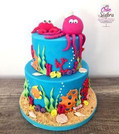 Réalisez une magnifique gâteau sur le thème de la mer ! Idéal pour des goûters thèmes Nemo ou la petite Sirène.