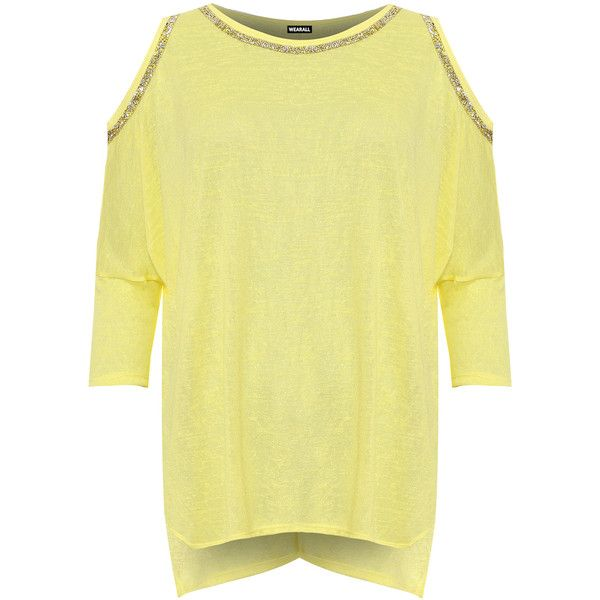 WearAll Plus Size Diamante Trim Cap Sleeve Baggy Batwing Top (£24) ❤ liked on Polyvore featuring plus size women's fashion, plus size clothing, plus size tops, yellow, yellow top, plus size cut out shoulder tops, plus size cold shoulder tops, plus size cut out tops and batwing sleeve tops