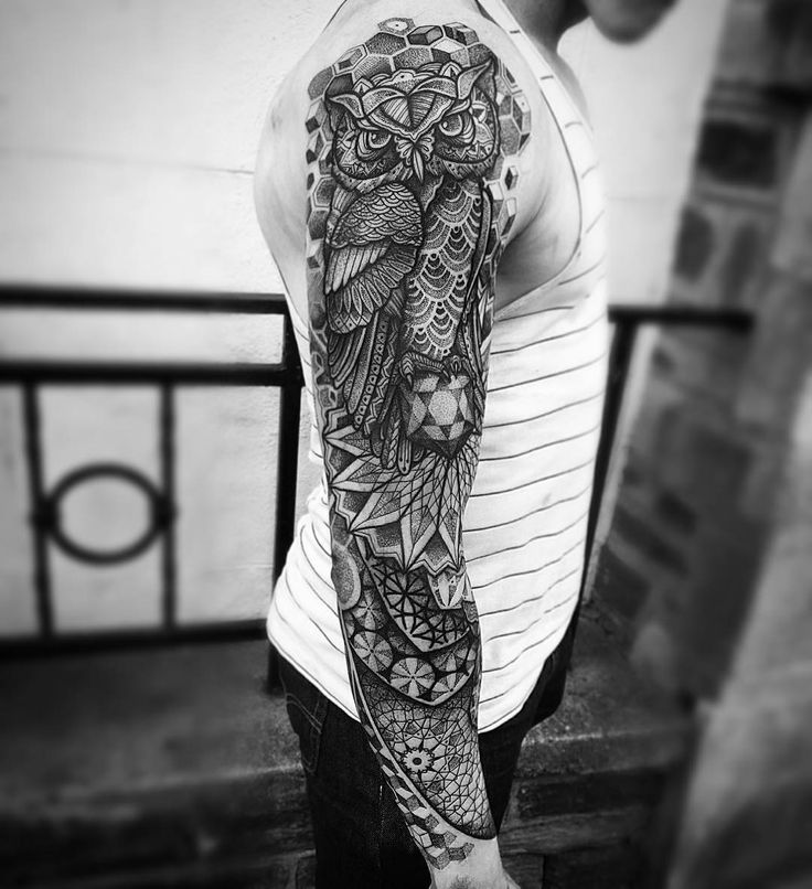 "23 Likes, 2 Comments - Inkformer (@inkformer_official) on Instagram: ""#Repost @ornamentalika ・・・ @paulokink #inkformer #sleeve #owl #tattoo"""