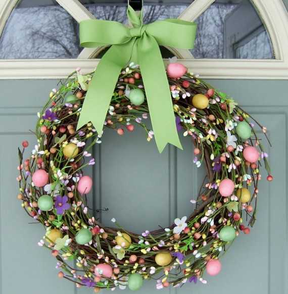 Easter Wreath READY TO SHIP von countryprim auf Etsy
