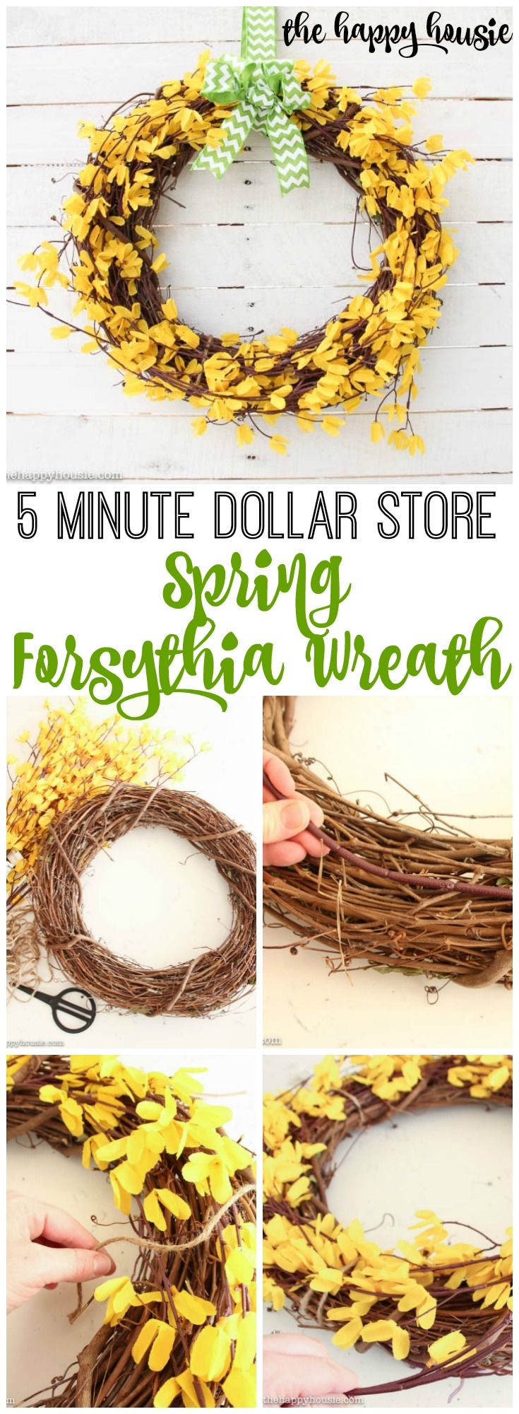Five Minute Dollar Store DIY Spring Forsythia Wreath at the happy housie