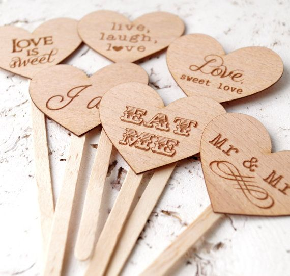 Wedding cupcake toppers rustic cupcake by CorkCountryCottage