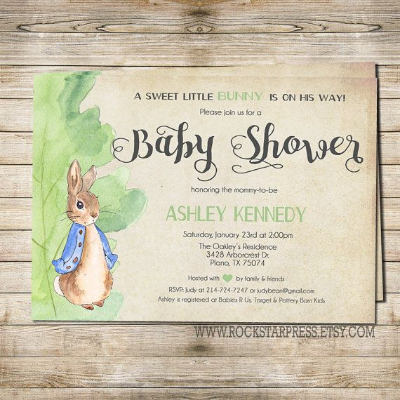 Classic styled Peter Rabbit invitation sets a perfect tone for any baby shower! Works perfect for a gender neutral shower as well, we can change the top line to read a sweet little bunny is on the way! or remove it all together. :)   (the additional matching designs can be purchased through the links below)  ———————————— T H E S T E P S —————————————  1. SELECT & PURCHASE the 5x7 Invitation design If you need a different size just let me know. Colors can be customized as well for only $3 ...