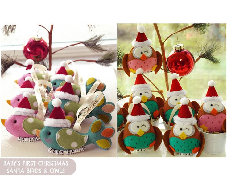 These baby's first Christmas Santa Birds + Owls from Gifts ...