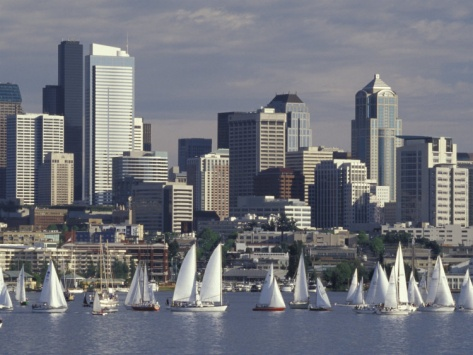 """Lake Union - Tuesday afternoon """"Duck Dodge"""" sailboat race - Seattle FUN!"""