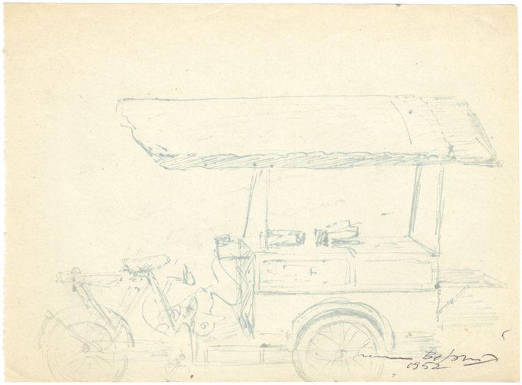 E. Besozzi pitt.1952 Carretto dei gelati inchiostro su carta cm. 12x16 arc. 488