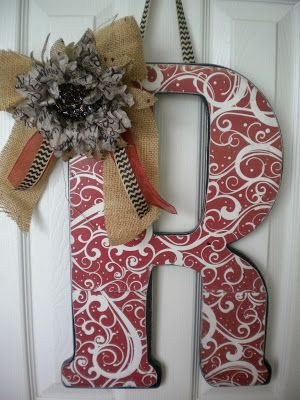 DIY Decorative Wall Letters with burlap and ribbons