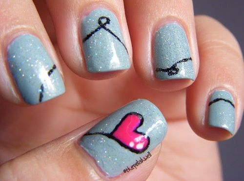 cute valentine nail art