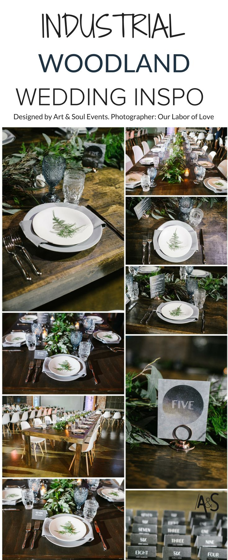 Industrial Woodland Wedding inspiration. Farm Tables, Dark Greenery Garlands, Fern Napkin Detail, White eames chairs, grey dinner plate, and smoky blue colored goblets. Midnight in the forest wedding designed by Art & Soul Events
