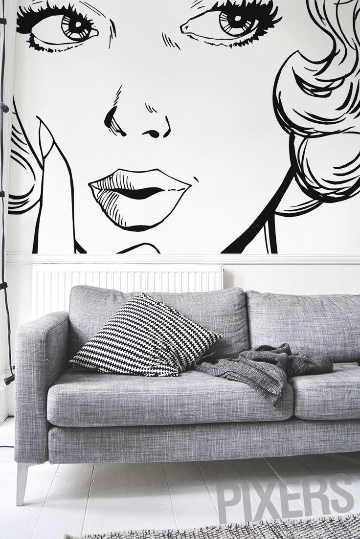 How to give your walls the wow factor? Try our pop-art wall mural!   WWW.PIXERSIZE.COM