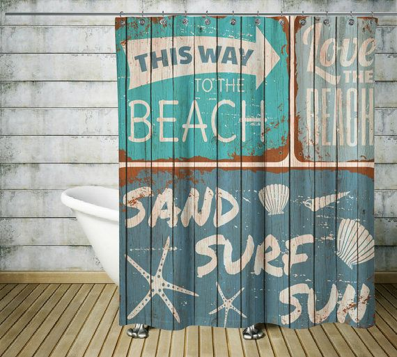 Beach Shower Curtain Rustic Sign Faux Wood by FolkandFunky on Etsy