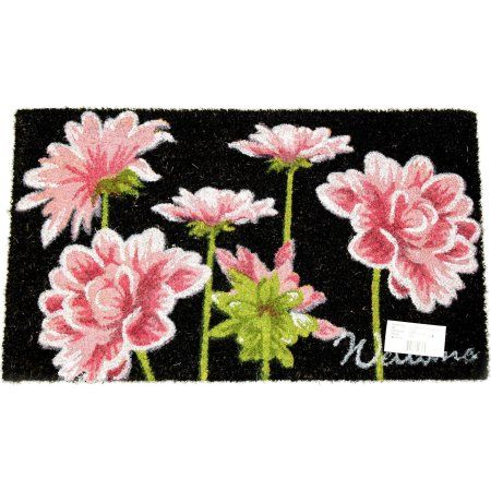 Pink Flower Printed Coir Doormat, White