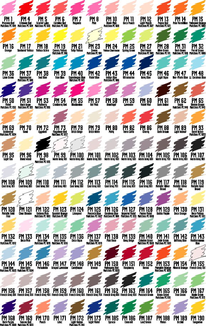 Folk art acrylic paint color chart - Design Markers Color Charts Design2 Art Marker Substitution Chart Design 2 Number And Color