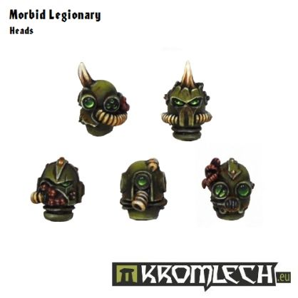 This set contains ten heads (five different designs) that can be used to convert your minis into followers of plague gods murmuring blasphemous litanies. They are designed to fit heavily armoured SF warriors