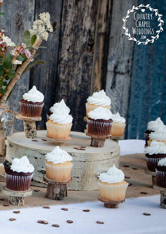 20 supports de Cupcake rustique ~ Stands individuels Cupcake ~ mariage à la campagne, mariage en plein air, mariage de la grange, Buffet de desserts, mariage rustique