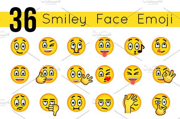 Emoticons Smiley Face Emoji Icons by vectorikart on @creativemarket