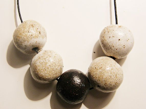 Raku Ceramic Bead Necklace made by Me by OneGreenIdea on Etsy, €14.00