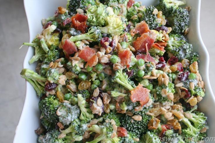 Sweet Basil: Broccoli Salad: Food Recipes, Sunflowers Seeds, German Potatoes Salad, Side Dishes, Broccoli Salads, Sweet Basil, Delicious Broccoli, Broccoli Salad Recipes, Broccoli Salad Apples Vinegar