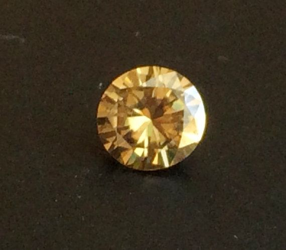 Moissanite Diamond Yellow Round Solitaire Cut by gemsforjewels