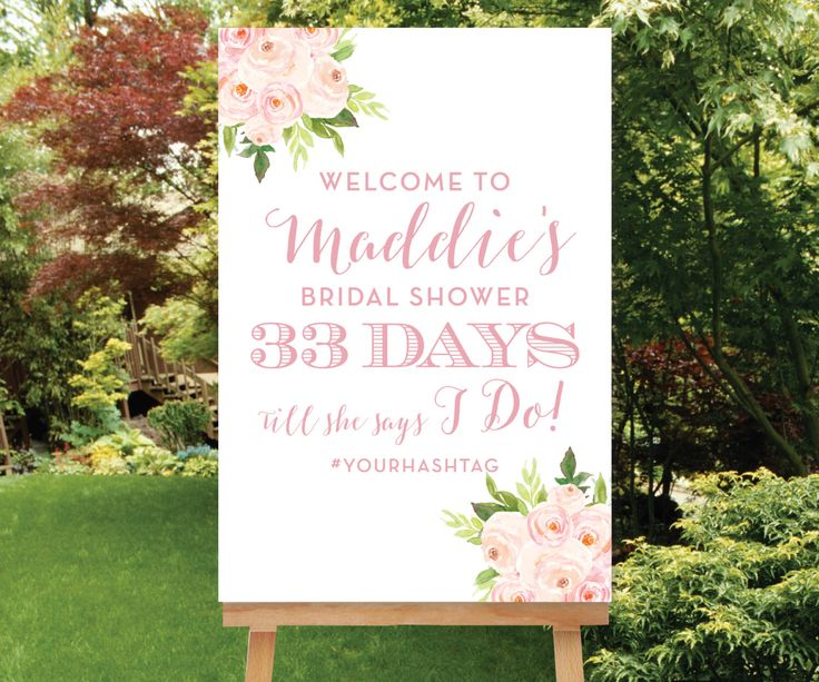 Wedding Countdown Printable, Bridal Shower Welcome Sign Custom Welcome Sign, Days Till She Says I Do Sign Bridal Shower Hashtag, The Bella by SimplyFetchingPaper on Etsy https://www.etsy.com/listing/270628237/wedding-countdown-printable-bridal