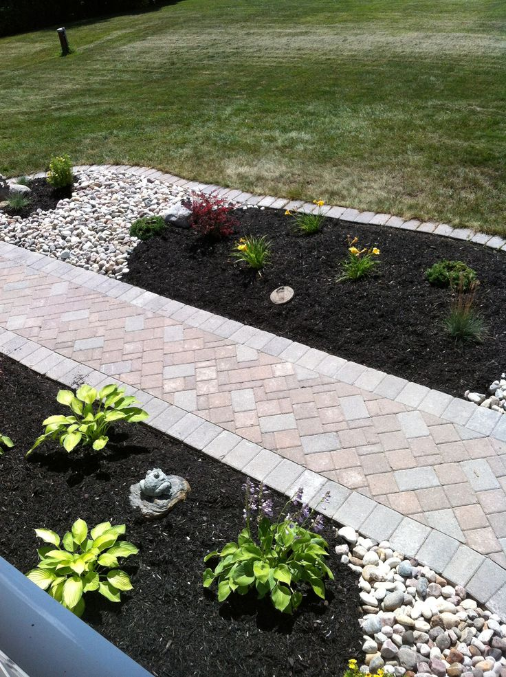 Just Changed Our Front Flower Beds To This River Rock And Black Mulch Love The