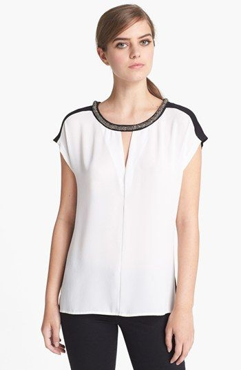 Ro & De Embellished Colorblock Top available at #Nordstrom