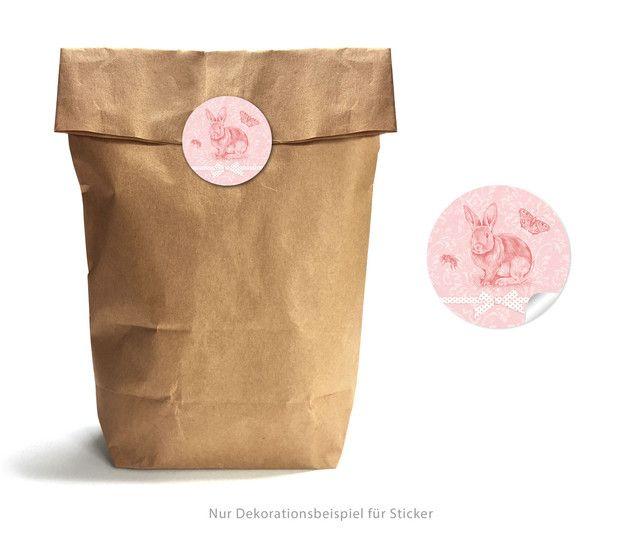 """GESCHENKTÜTEN SET """"OSTERHASE rosa"""" braun made by Grußkarte mit Herz via DaWanda.com"""