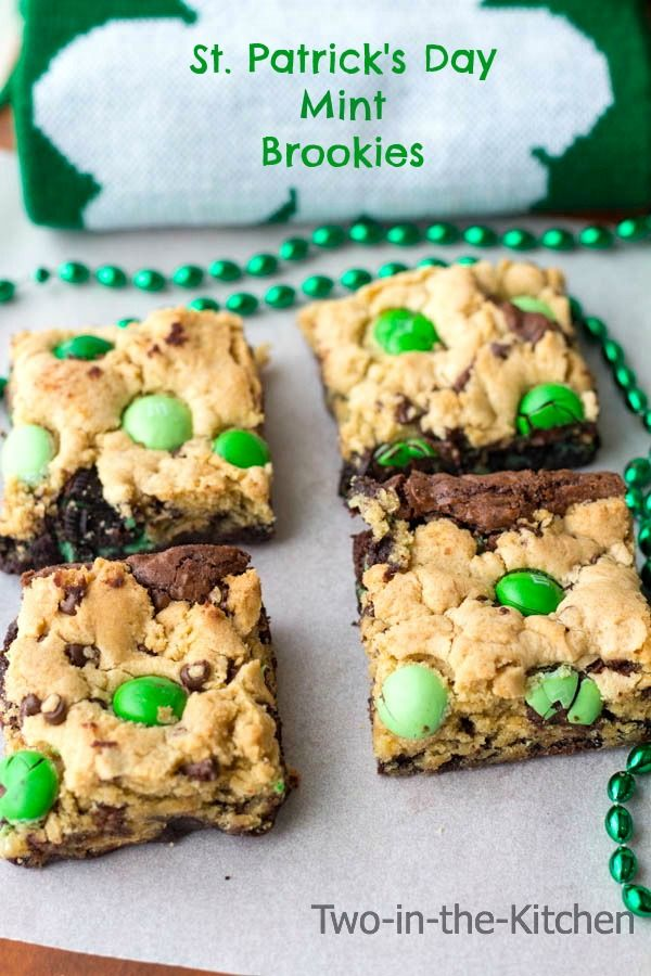 St. Patricks Day Mint Brookies | Two in the Kitchen