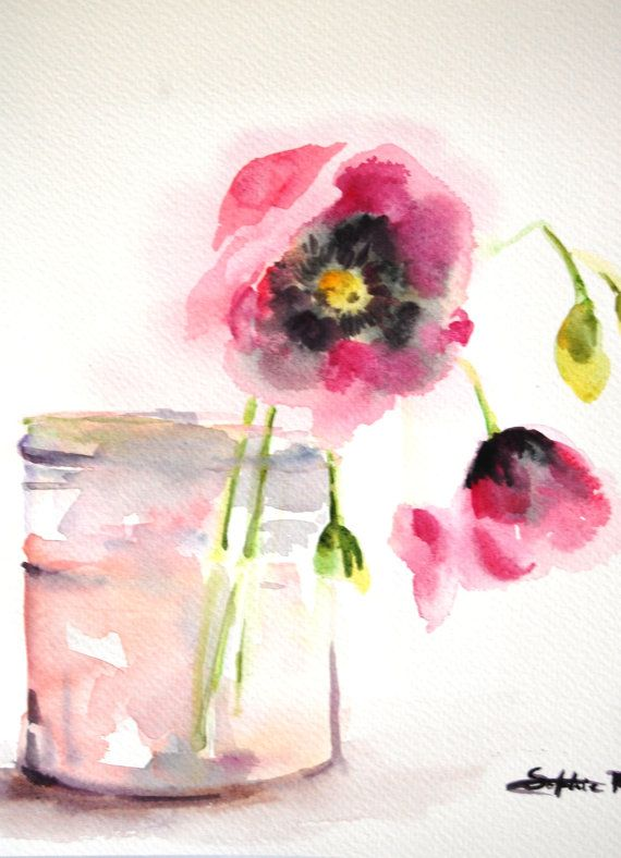 Original  Watercolor Painting.Still Life. Pink Flowers in the Glass. via Etsy