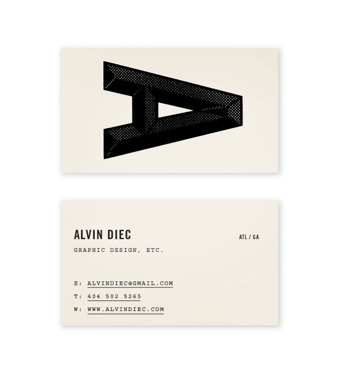 Business card. big letter.