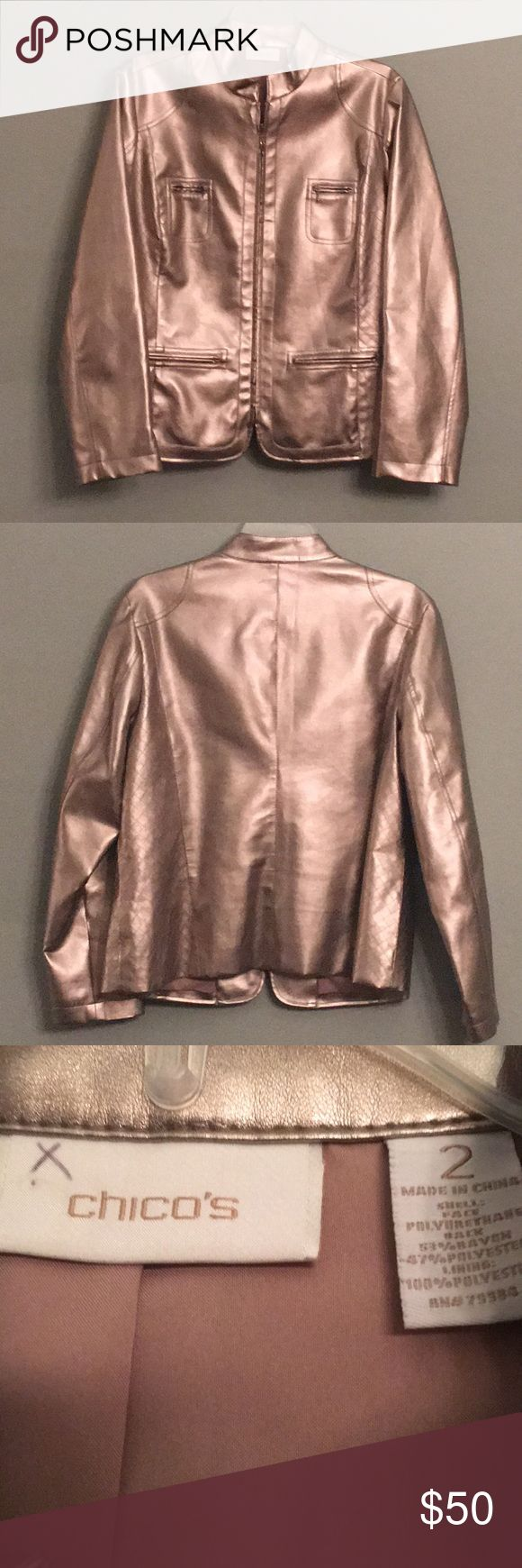 😍Metallic Chico's Zip Up Jacket 😍STUNNING!!!😍 This Jacket is absolutely gorgeous!! Taupe Gold metallic with zipper pockets!! Excellent condition inside and out. Fully lined. Guaranteed to turn heads!! This is a Chico's Size 2....not a regular size 2! Fits more like a large. Chico's Jackets & Coats