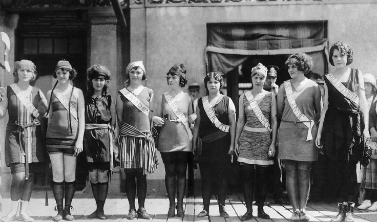 "1921 Miss America Pageant. These women are all different shapes and sizes - this is what should be considered normal. Not the ridiculous ""one size should be all"" expectations for women we have today."