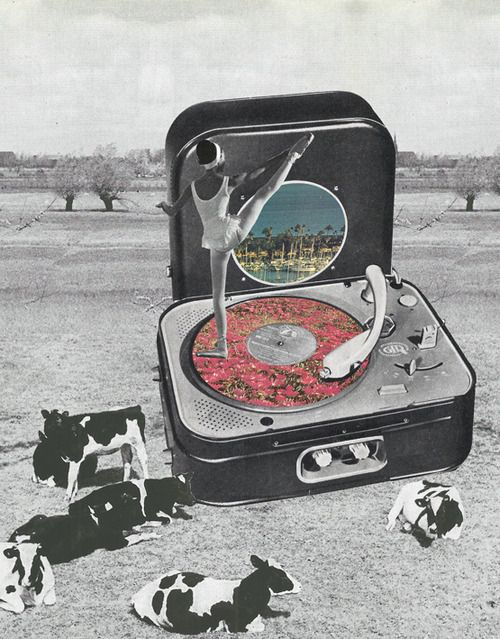 Music box © CARO-MA ( vintage turn table / record player / mixed media / cow / art / ballerina / collage )