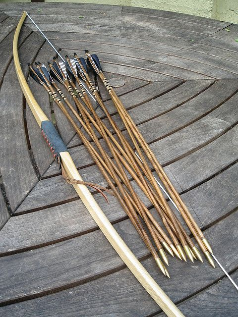 Longbow and arrows