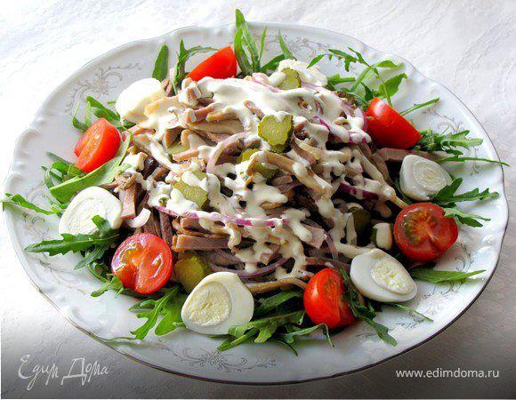На каждый праздник я стараюсь приготовить какое-нибудь блюдо из языка.......уж очень мы его любим.))))) Это либо салат, либо заливное, либо просто отварной язык с горчицей. Сегодня предлагаю вам ...