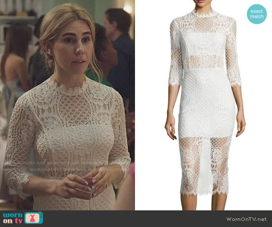 Shoshanna's white lace engagement party dress on Girls.  Outfit Details: https://wornontv.net/69055/ #Girls