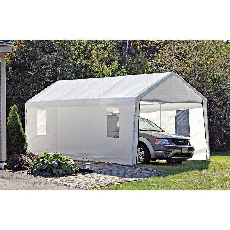10x20 foot Instant Garage & Shelter in White Garage canopies