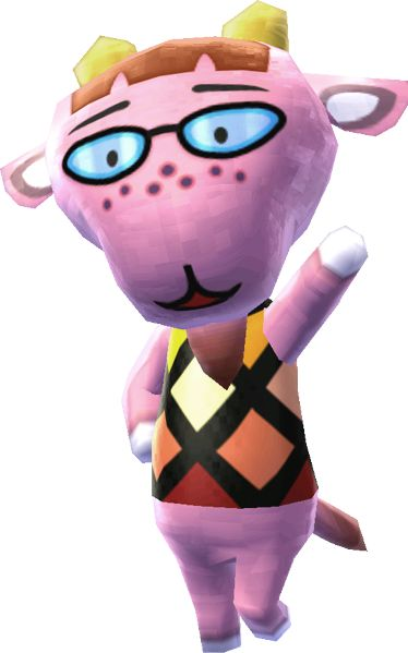 """""""Hey you, have you been writing people letters lately, blih?"""" — Velma, Animal Crossing Velma (ピティエ, Pitie ) is a snooty goat villager from the Animal Crossing series. Her English name, as well as her appearance, is shared with the Scooby-Doo cartoon character, Velma Dace Dinkley. Her catchphrase comes from the sound goats make. She appears on the album cover for K.K. Étude. Velma is a pink goat. She wears glasses and has dark pink freckles, and she has yellow horns. Her initial clothing…"""