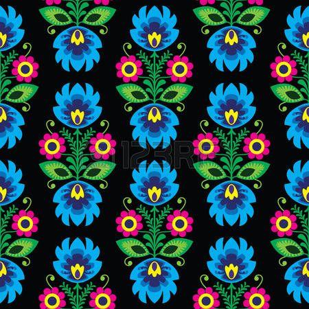 Seamless patr�n floral tradicional polaca arte popular en negro photo                                                                                                                                                                                 Más