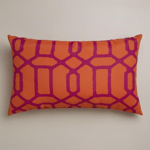 Orange and Fuchsia Gate Wide Outdoor Lumbar Pillow