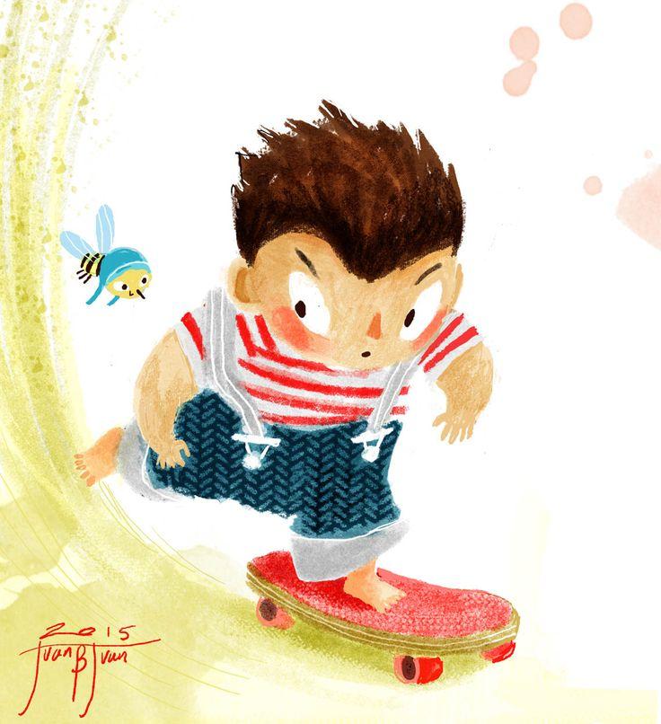skateboarding child