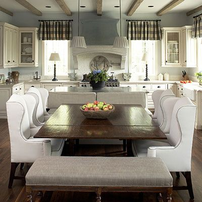 Love the chairs for the kitchen table,  the colors, the white cabinets & dark wood