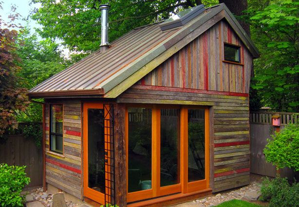 """When sustainable building advisor Megan Lea set out to build a backyard retreat, she knew that reclaimed materials would figure prominently into the design. What resulted is a polychrome of salvaged 100-year-old barnwood by West Salem-based <a href=""""http://www.barnwoodnaturals.com/"""">Barnwood Naturals</a> that makes the facade of this Bernard Maybeck-inspired design as unique as it is enviornmentally friendly."""