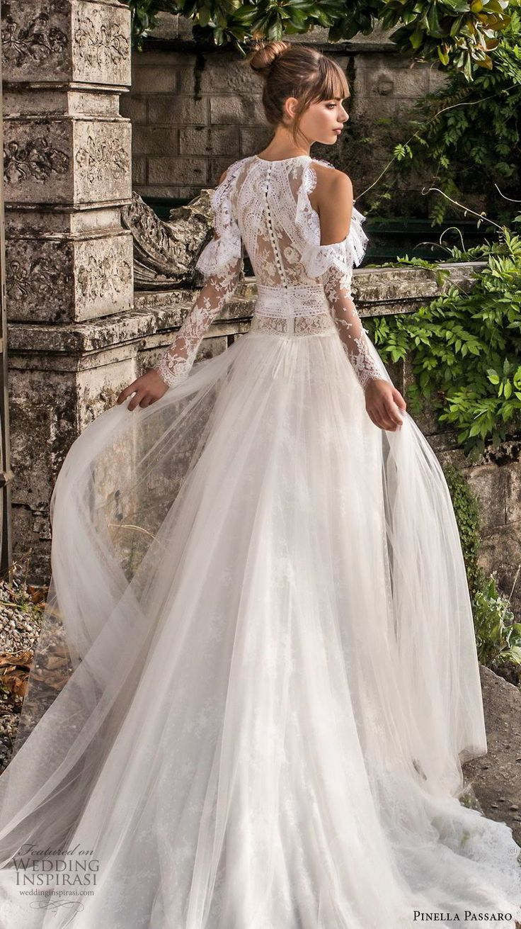 pinella passaro 2018 bridal cold shoulder long sleeves halter neck jewel neck heavily embellished bodice elegant romantic a  line wedding dress covered lace back chapel back (7) bv -- Pinella Passaro 2018 Wedding Dresses