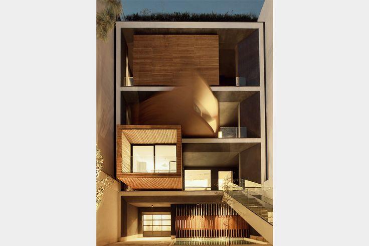 Sharifi-ha House in Tehran, Iran | turning boxes | introverted or extroverted volume | designed by Nextoffice  #architecture #interior_design #ek_magazine